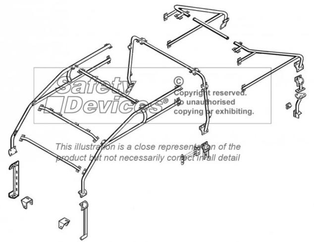 safety devices defender 110 double cab roll cage internal