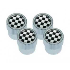 DA1436 - Dust Cap, Chequered Flag design with Silver Outer