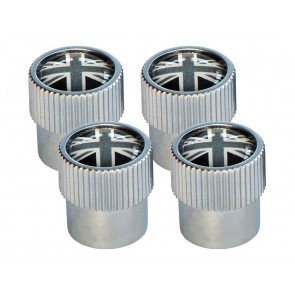 Valve Cap Set - Black, White & Grey Union Jack
