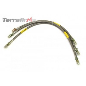 Terrafirma standard length stainless steel braided brake hose kit (Defender 90 up to 1999)