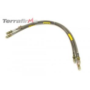 Terrafirma 2 inch extended length stainless steel braided brake hose kit (Defender 90 up to 1999)