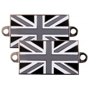 Bolt on Enamelled Union Jack Badges - Grey